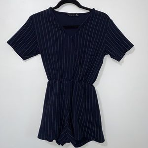 Boohoo blue with white stripe romper.